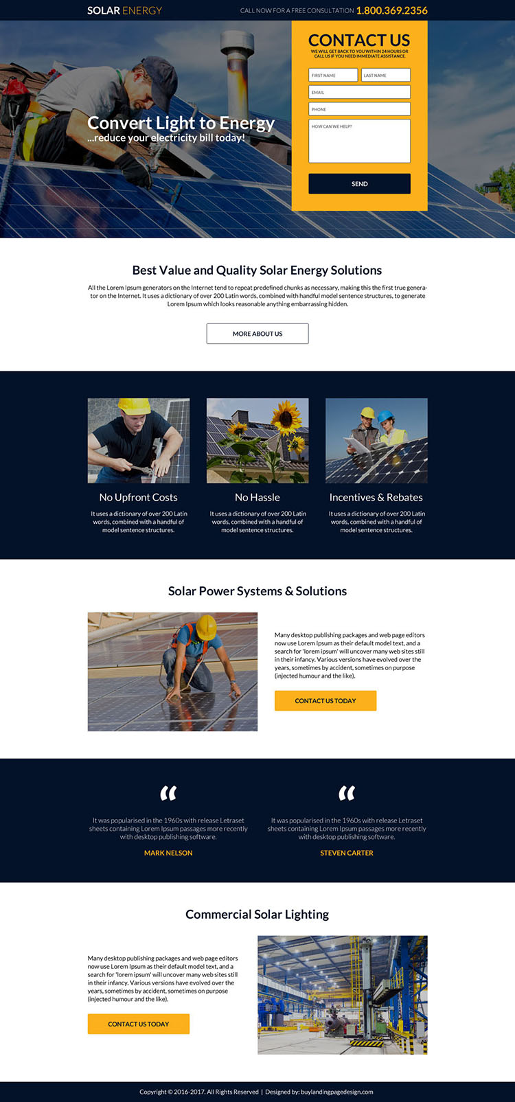 solar energy solutions small lead form landing page design