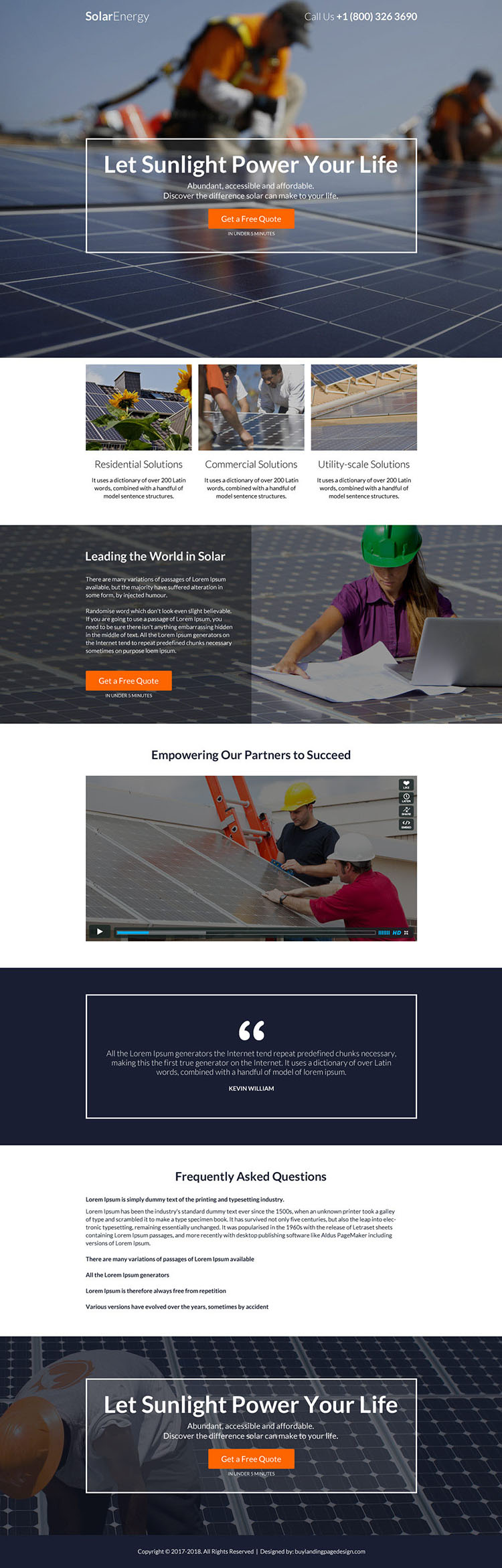 residential and commercial solar power project responsive landing page