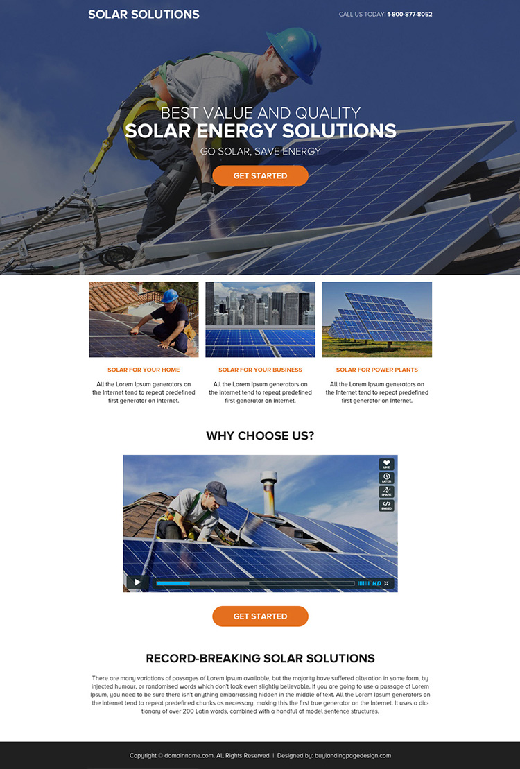 solar energy solutions call to action landing page design