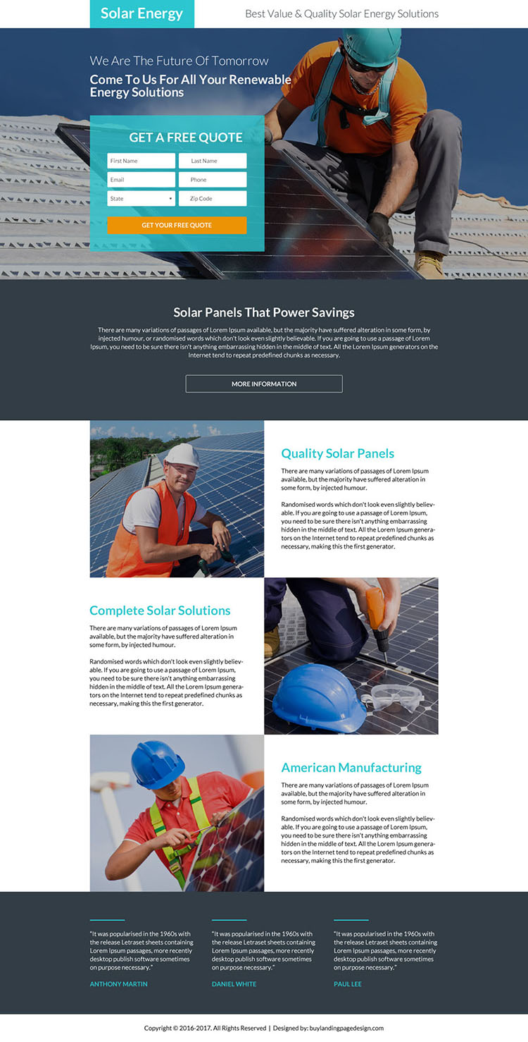 solar energy solutions free quote landing page