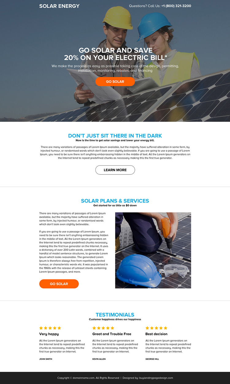 solar energy system mini landing page design