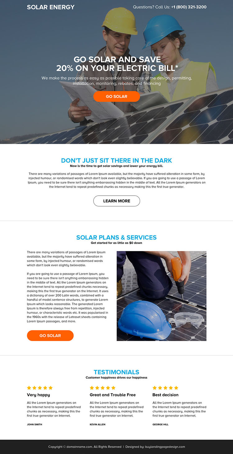 solar energy system responsive landing page design