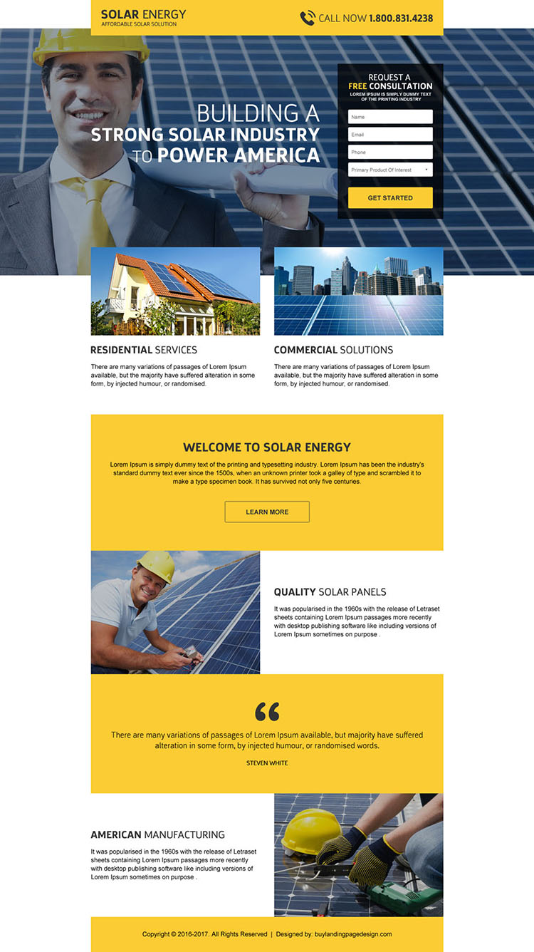 solar panel installation service responsive landing page design