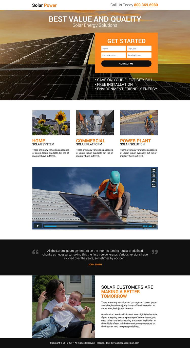 solar power solution lead gen landing page design