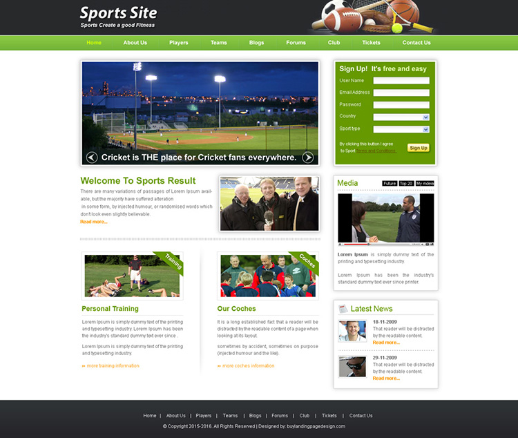 sports website template design psd for sale