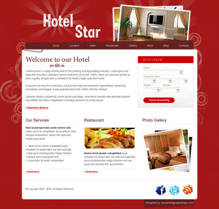 clean and professional website template design psd for hotel business