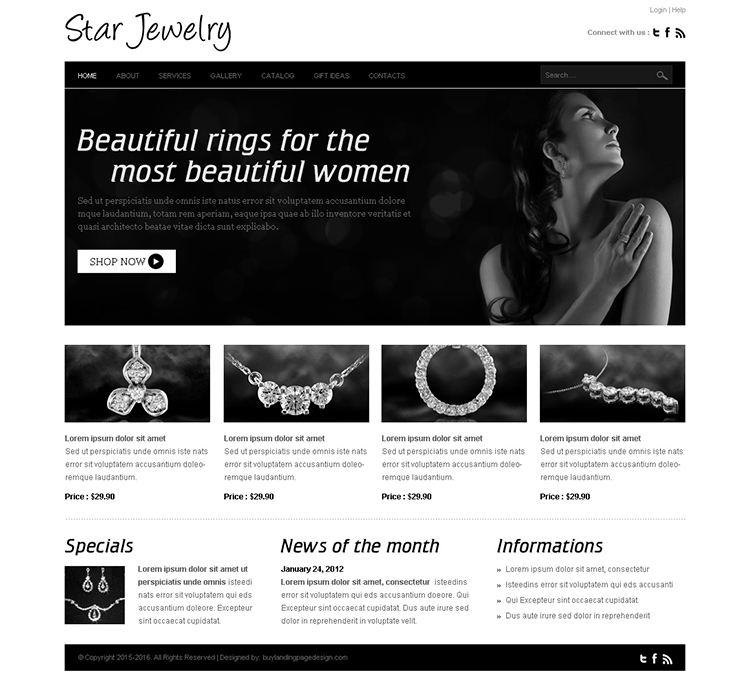star jewelry website template design psd for jewelry and accessories