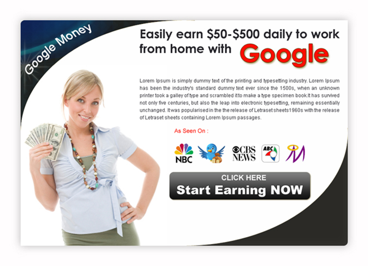 start earning with google work from home clean ppv landing page design