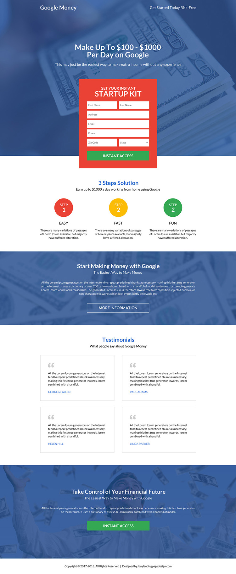 professional and premium google money landing page design