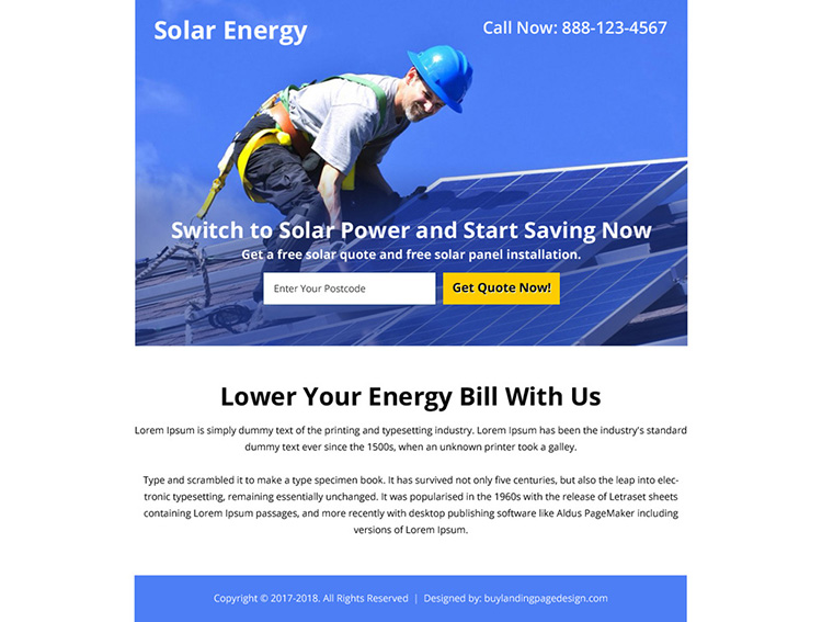 solar energy zip capturing ppv landing page design