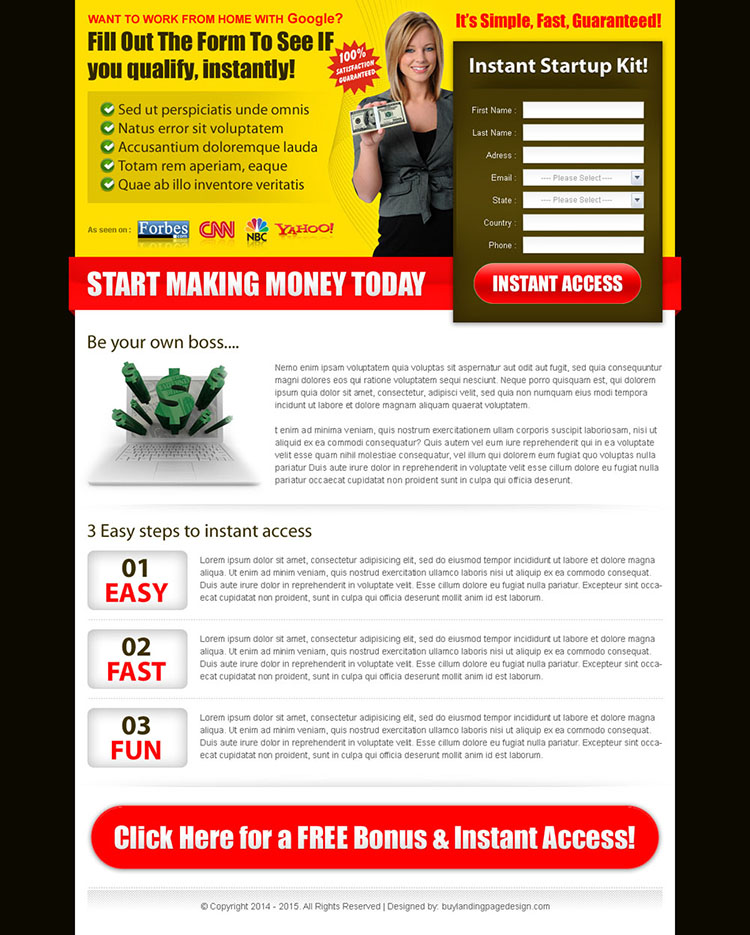 start making money today with our instant google money start up kit landing page design