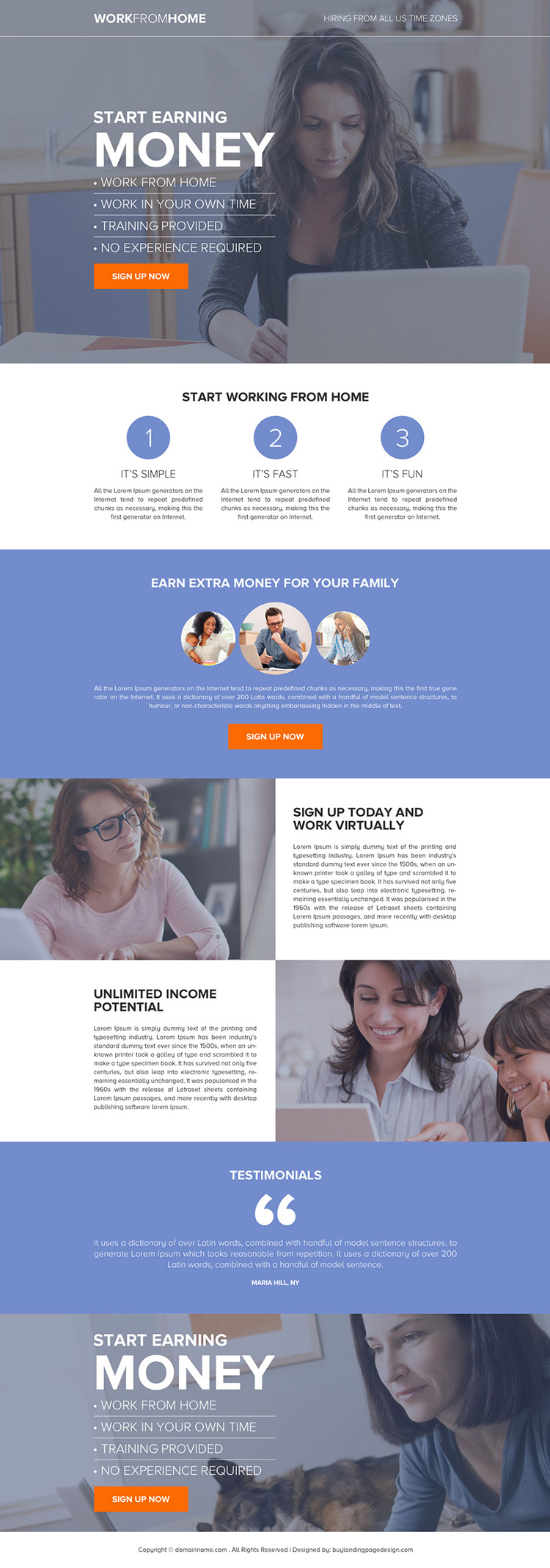 work from home business sign up capturing responsive landing page design