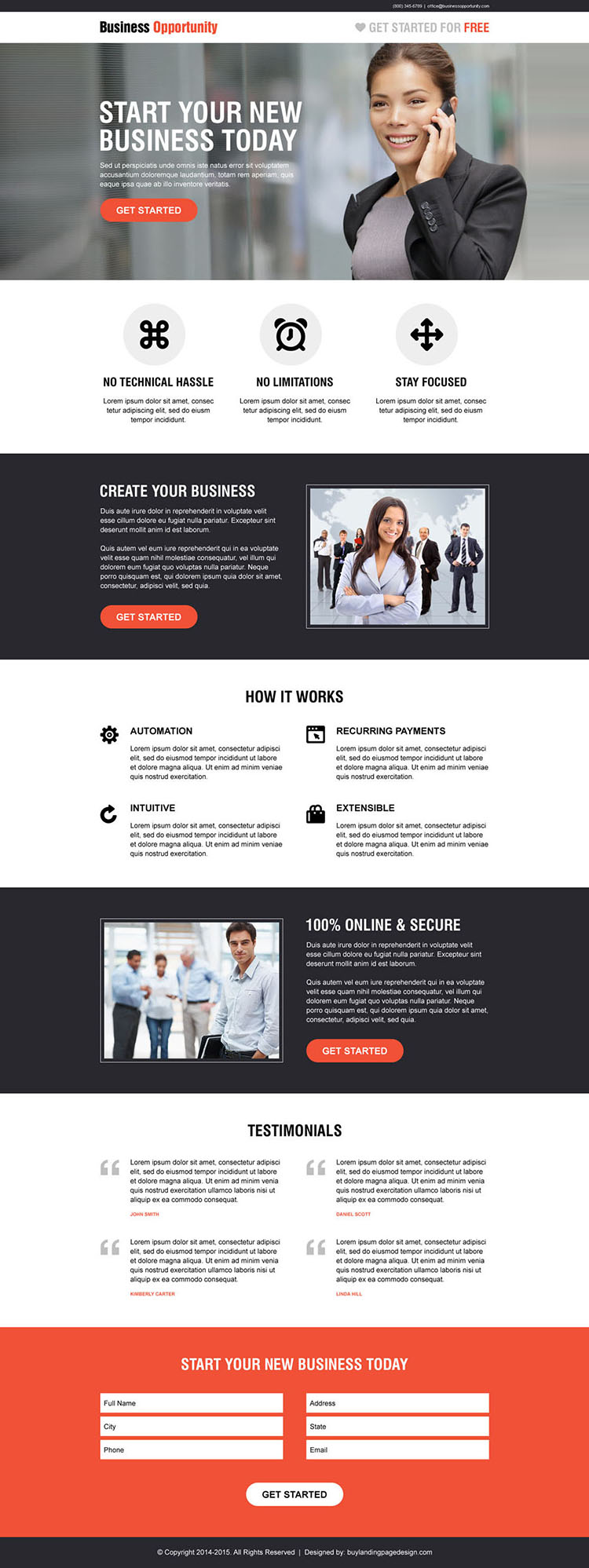 start you new business responsive call to action business opportunity landing page design