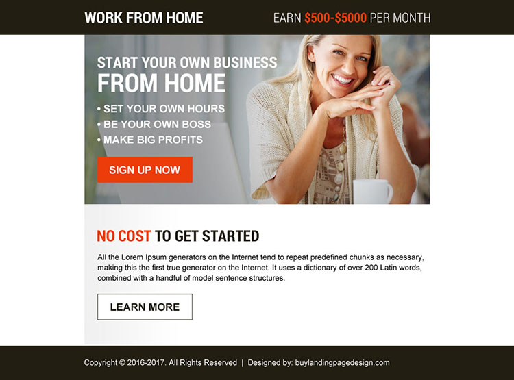 start your own business from home ppv landing page design