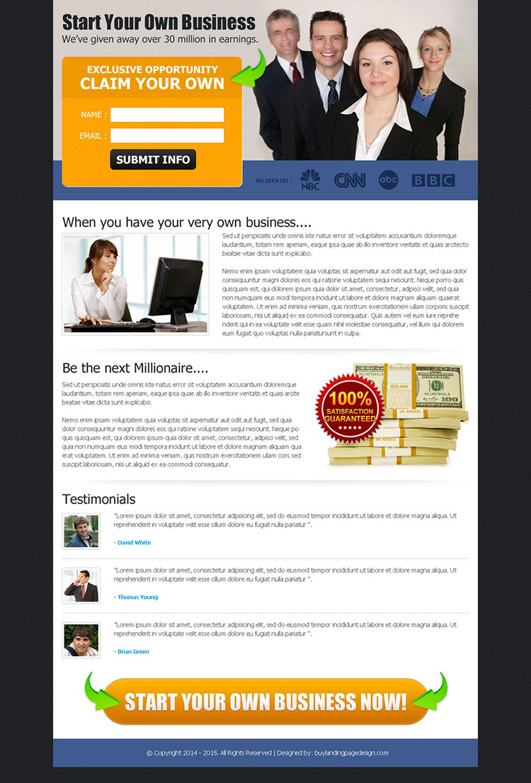 start your own business exclusive opportunity effective landing page design