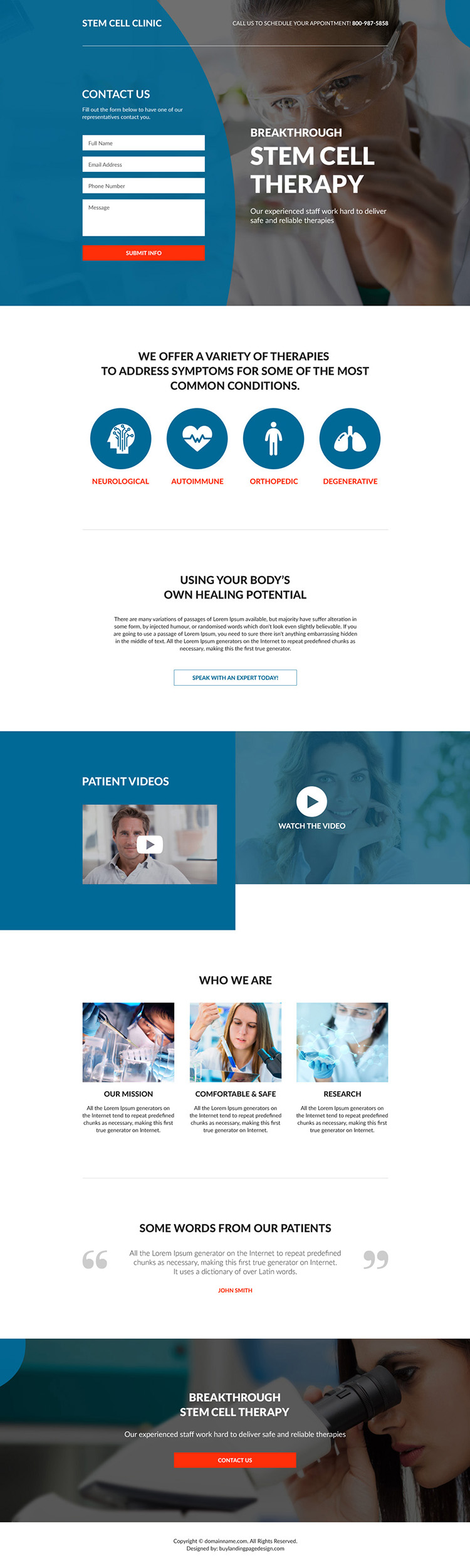 stem cell therapy clinic responsive landing page