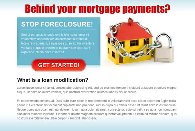 behind on your mortgage payment attractive and effective ppv landing page design