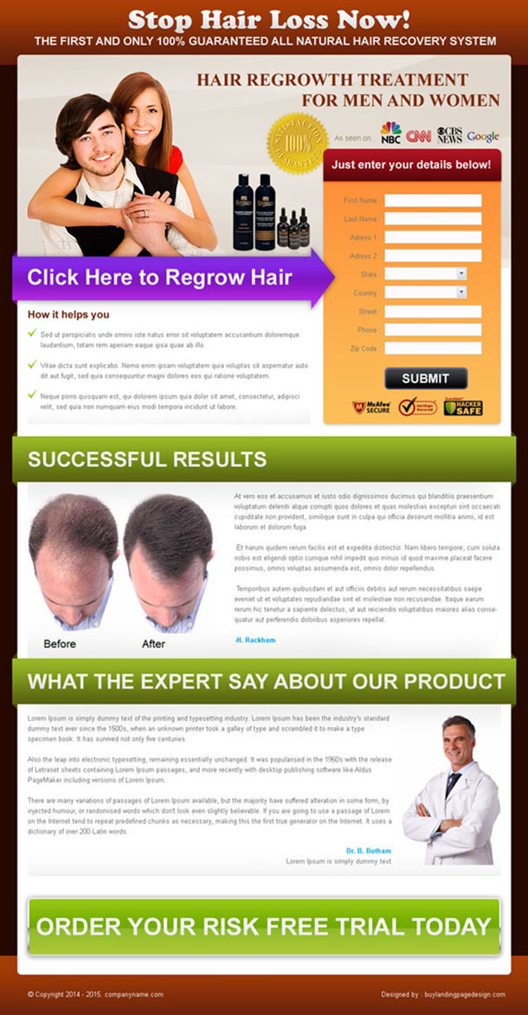 hair loss product lead capture landing page design template