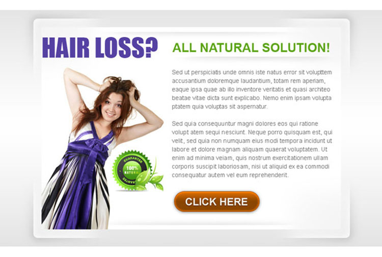 natural solution to stop your hair loss clean and appealing ppv landing page design