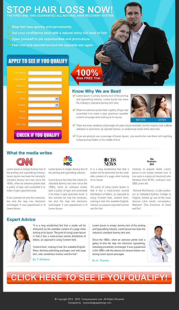 stop hair loss now lead capture squeeze page design