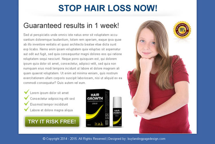 stop hair loss now clean call to action ppv landing page design