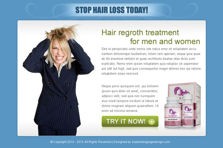 stop hair loss today effective call to action ppv landing page design