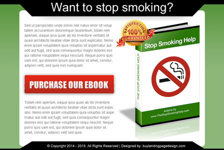 stop smoking converting ebook landing page design template
