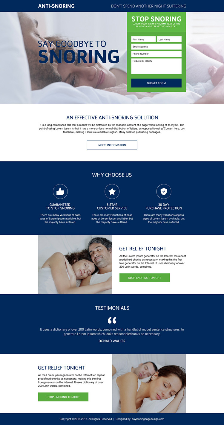 effective anti snoring solution landing page design