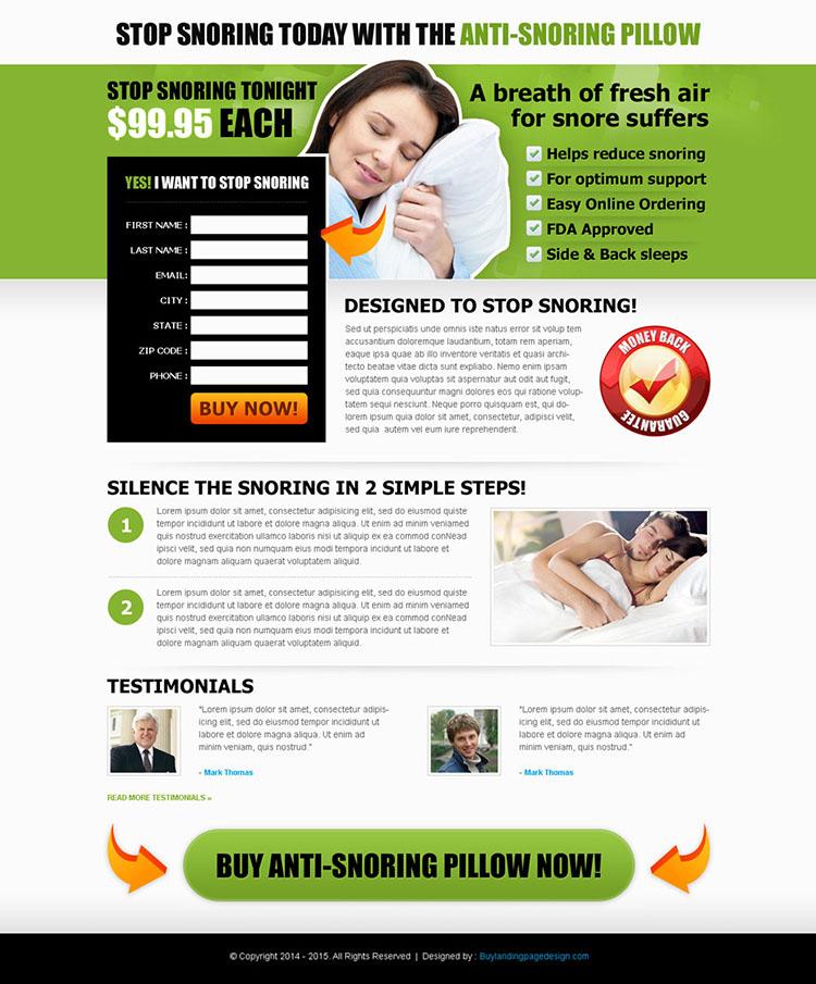 anti snoring pillow landing page design