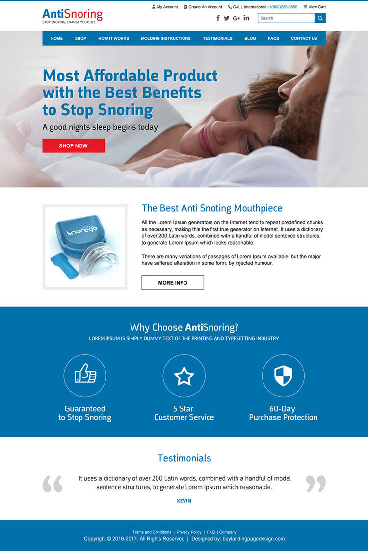 anti snoring product responsive website design