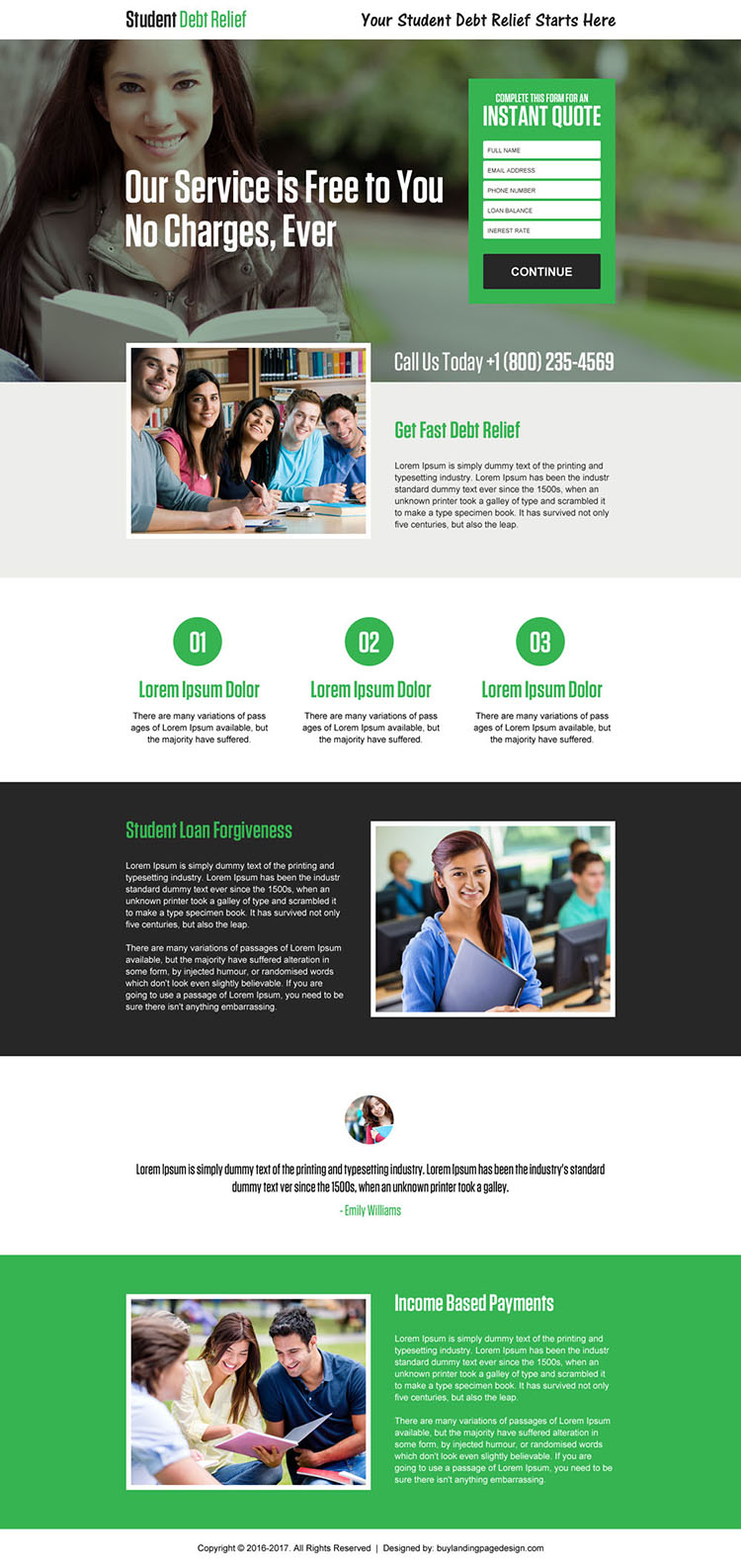 student debt relief instant quote landing page design