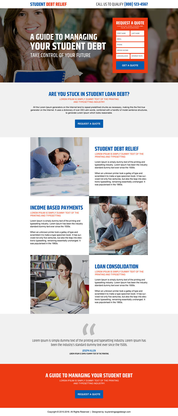 student debt relief guide converting landing page design