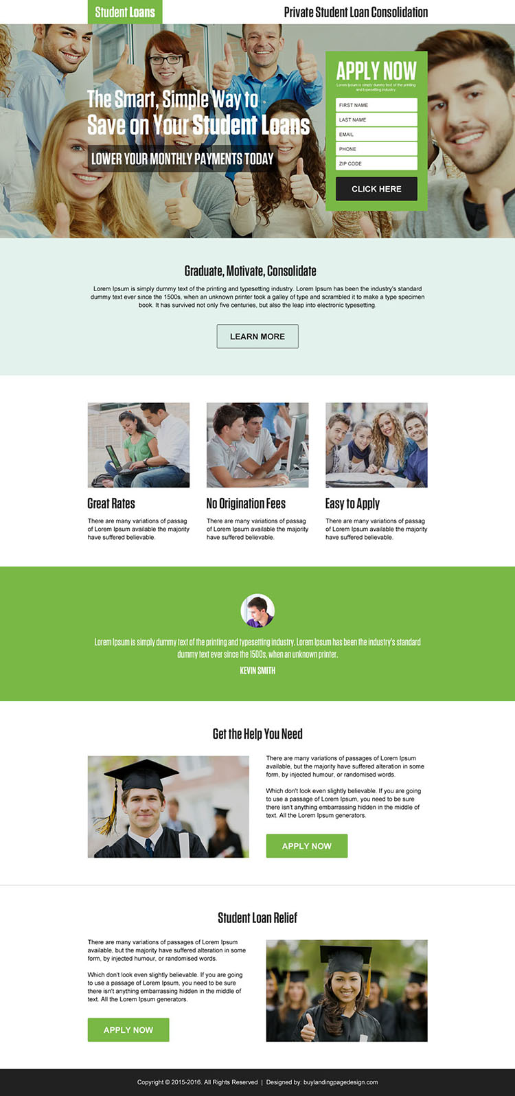 student loan consolidation lead generating landing page design