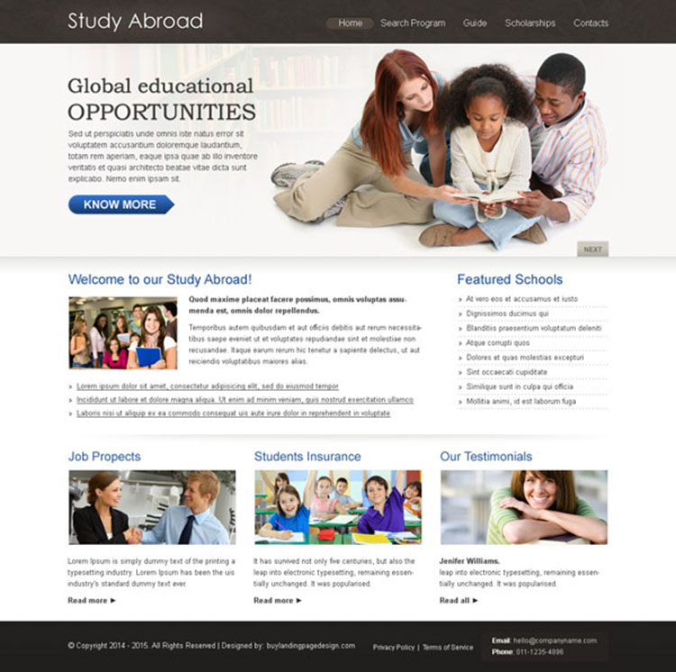 study abroad clean and converting education website template design psd