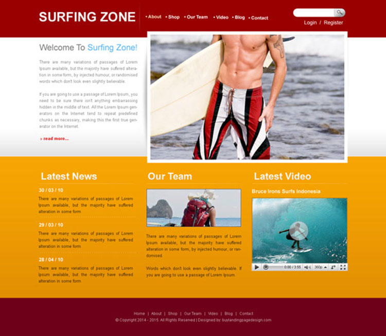 surfing zone clean and attractive website template design psd