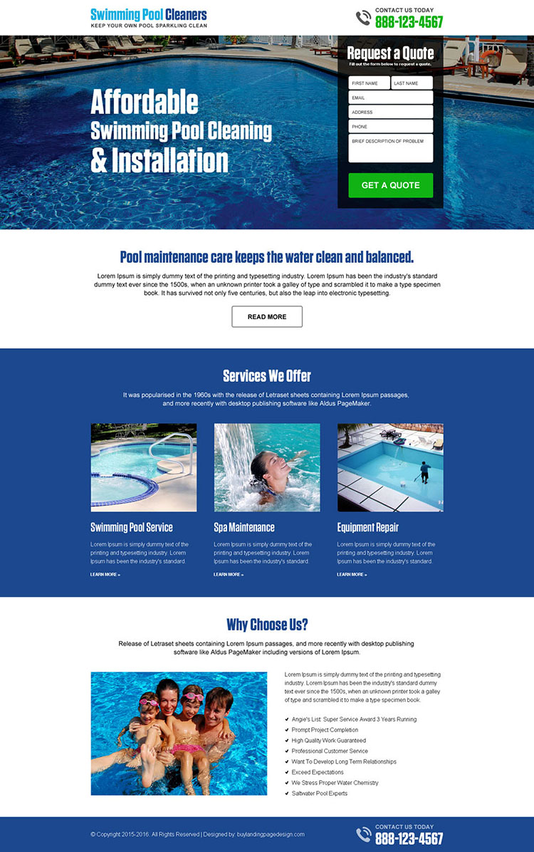 swimming pool cleaning and installation free quote lead capture landing page design