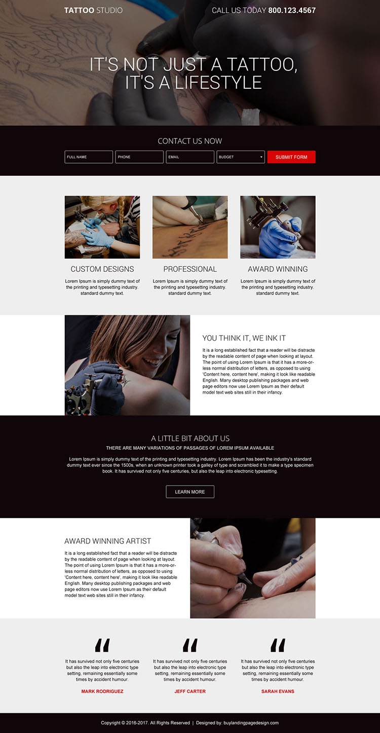tattoo design service responsive landing page design