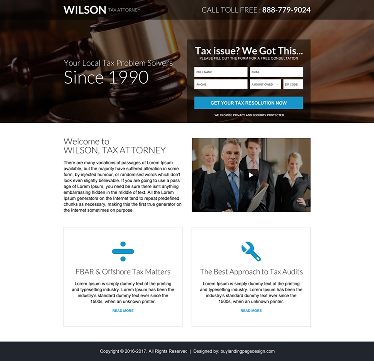 tax attorney mini lead capture landing page design