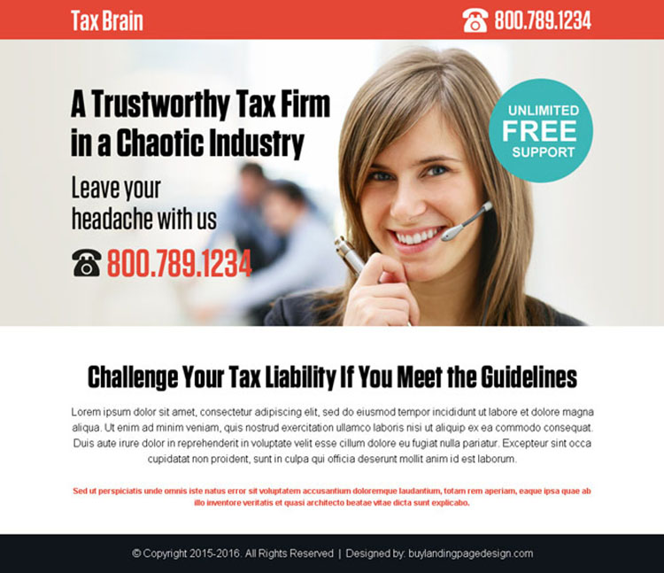 tax firm for all tax services call to action ppv landing page design