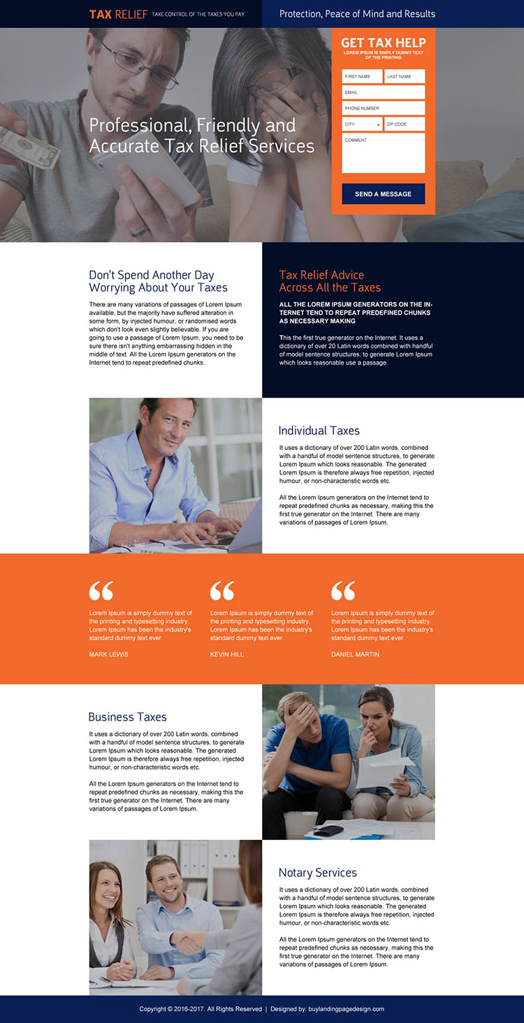professional lead capturing tax relief landing page design