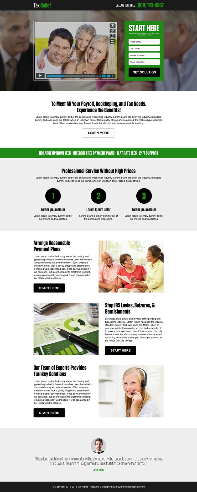 tax relief lead generating responsive video landing page design