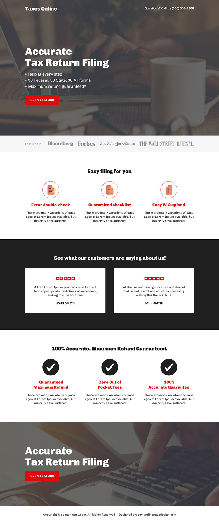accurate tax return filing responsive landing page design