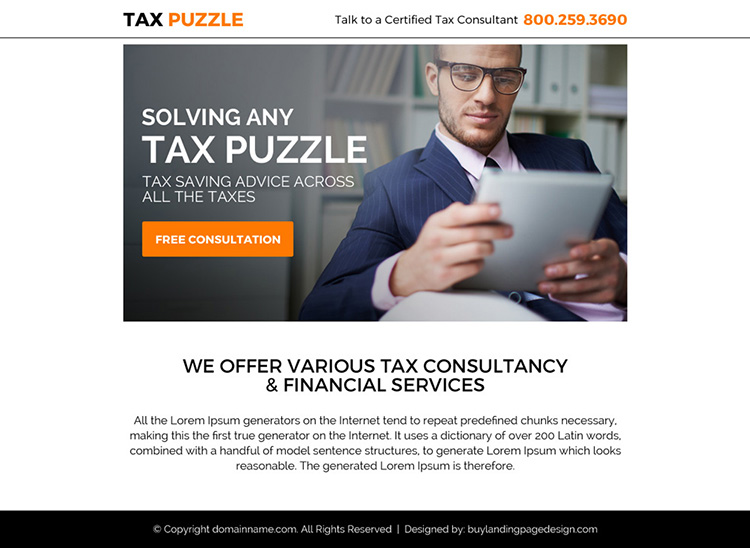 tax saving free consultation ppv landing page design