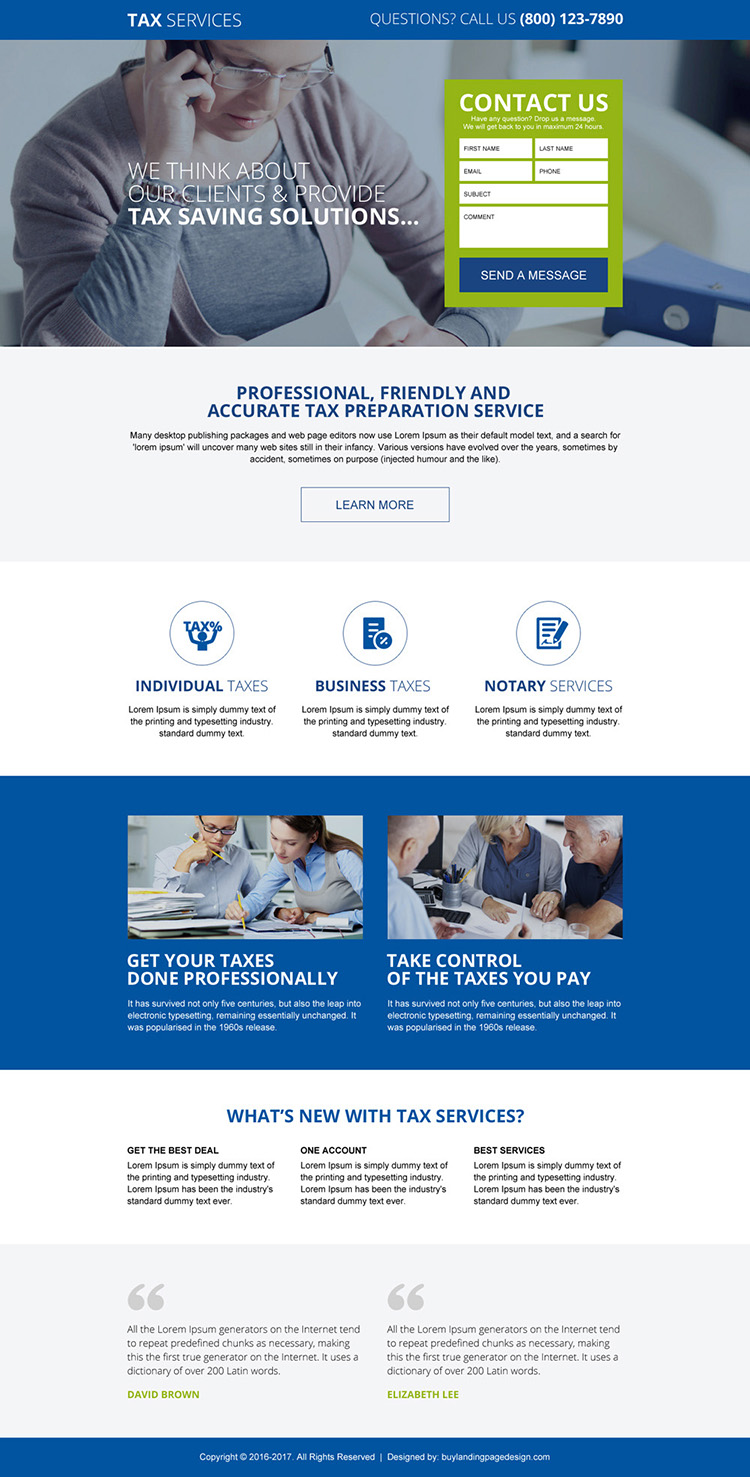 responsive tax saving service landing page design template