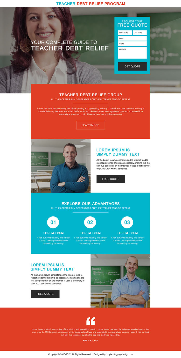 teacher debt relief program free quote landing page design