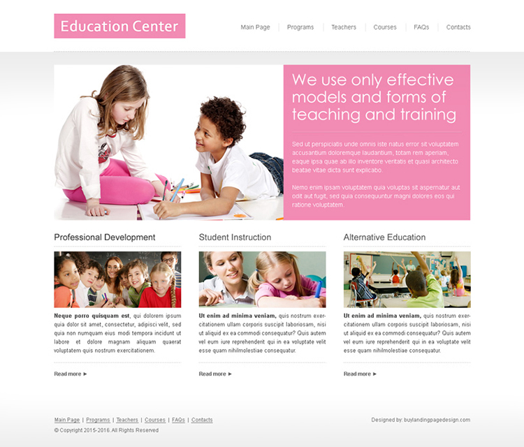 clean and minimal education website template design