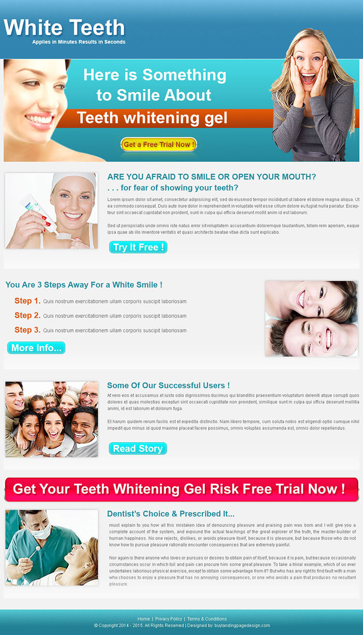 teeth whitening click through landing page design for sale