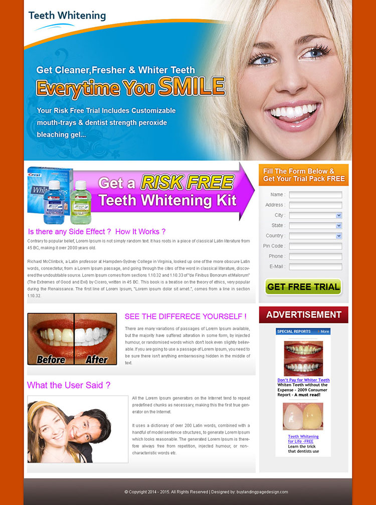 clean and minimal looking teeth whitening landing page design for sale