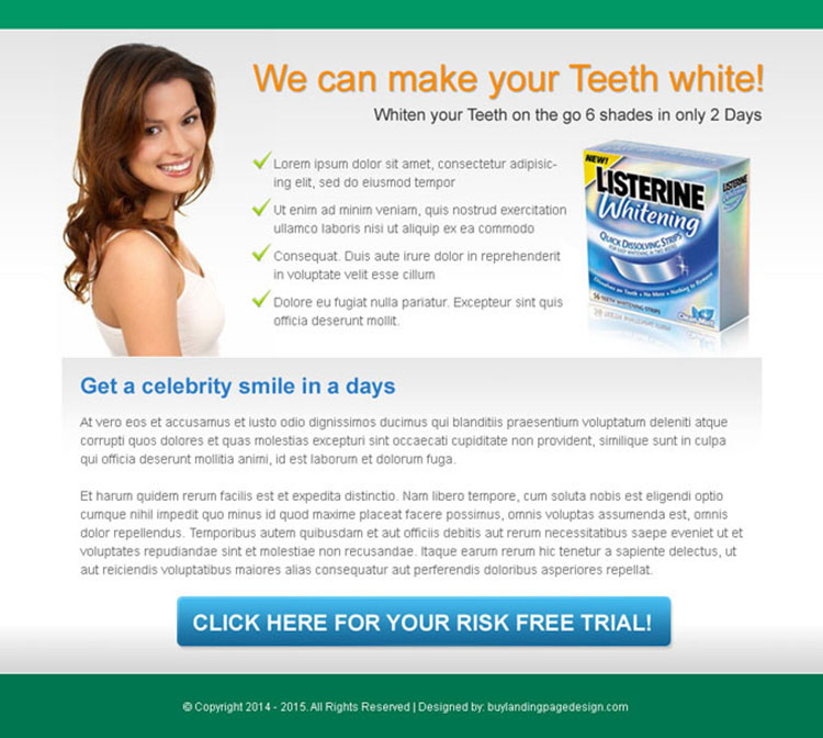 teeth whitening product risk free trial call to action ppv landing page design