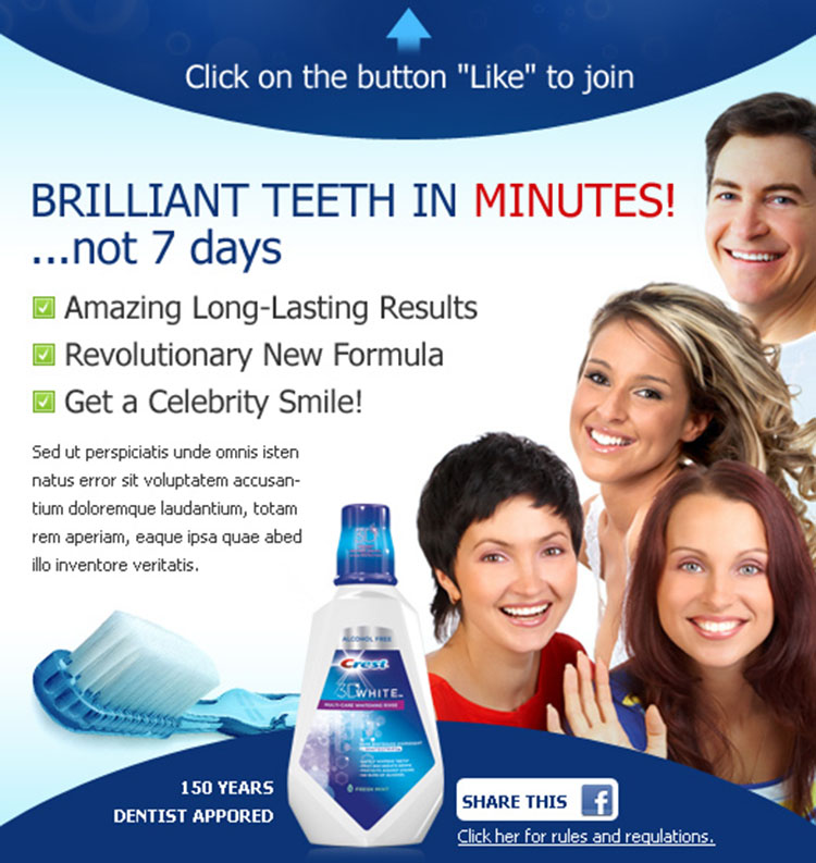 teeth whitening product effective and appealing facebook fan page design template